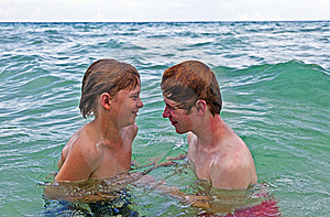 Boys Having Fun In The Clear Sea Stock Photography - Image: 15705502