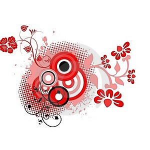 Red Black Floral Background Stock Photography - Image: 15705742