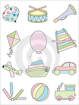 Kid Toys Icon Set Royalty Free Stock Images - Image: 15706609