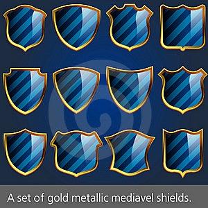 A Set Of Gold Metallic Mediavel Shields. Stock Image - Image: 15711961