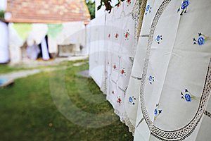 Tablecloth Drying On A Wire Royalty Free Stock Photography - Image: 15712297