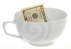 Ten Dollar Bill In A White Coffee Mug Royalty Free Stock Photos - Image: 15715318