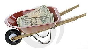 Twenty Dollar Bills In Red Wheelbarrow Stock Photos - Image: 15715323