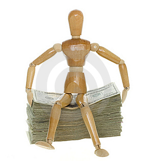 Mannequin Sitting On Stack Of Twenty Dollar Bills Stock Images - Image: 15715344
