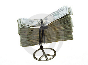 Twenty Dollar Bills Banded With Peace Necklace Royalty Free Stock Images - Image: 15715379