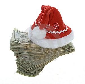 Twenty Dollar Bills With Red Santa Hat Stock Photo - Image: 15715400