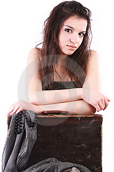 Girl Leaning On Old Suitcase Stock Image - Image: 15721241