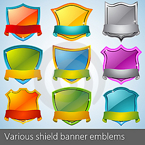 Various Shield Banner Emblems Stock Photography - Image: 15721452