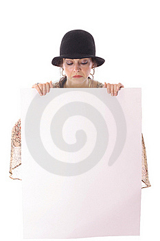Woman In Hat Looking At Blank Copyspace Stock Photo - Image: 15722810
