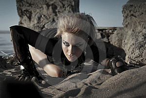 Rock Girl Crawls Royalty Free Stock Image - Image: 15723696