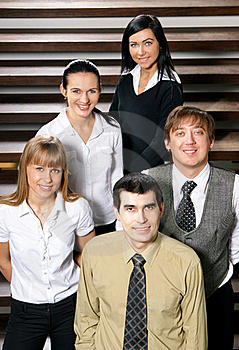 Five Young Business People Are Standing As A Team Stock Photography - Image: 15723812