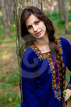 Girl At The Forest Royalty Free Stock Photography - Image: 15725437
