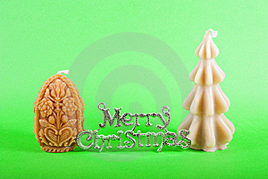 Merry Christmas Sign With Xmas Candles Royalty Free Stock Images - Image: 15726939