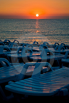 Beach Chairs Ready For Tourists Stock Photography - Image: 15727982