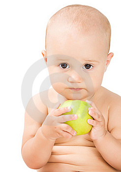 Lovely Baby Girl With Green Apple Royalty Free Stock Images - Image: 15729889