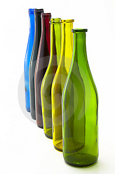 Colorful Empty Wine Bottles In A Line Stock Photography - Image: 15731542