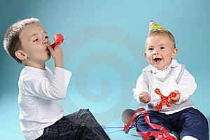 Two White Happy Children Celebrating Birthday Royalty Free Stock Photography - Image: 15733497