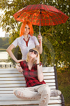 Two Teenage Girls At Summer Park Royalty Free Stock Images - Image: 15734179