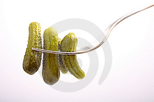 Cucumber On Fork Stock Image - Image: 15737721