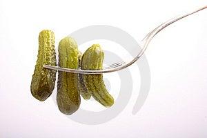 Cucumber On Fork Stock Image - Image: 15737721