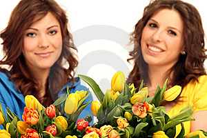 Two Girls With Flowers Stock Image - Image: 15739561