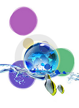 Drops Of Woter, Earth And Sea With Fish Stock Photography - Image: 15742082