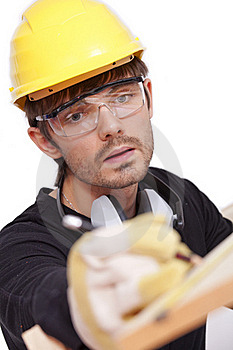 Worker Making Notice Royalty Free Stock Image - Image: 15743266