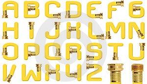 Yellow Garden Hose Alphabet Stock Image - Image: 15744481