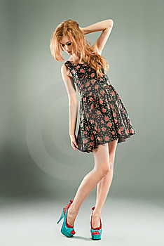 Beautiful Red-haired Girl On Grey Background Royalty Free Stock Photos - Image: 15745398