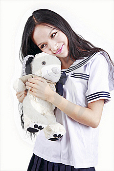 Female Student & Toy Dog Royalty Free Stock Image - Image: 15747666