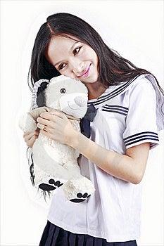 Female Student & Toy Dog Royalty Free Stock Image - Image: 15747666