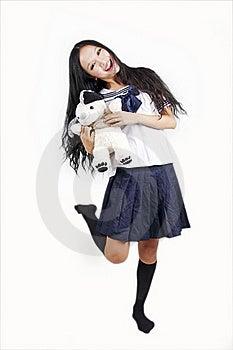 Estudante Fêmea Com Cão De Brinquedo Foto de Stock - Imagem: 15747770