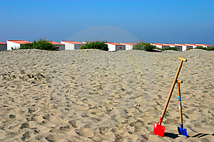 Beach Cabins With Spades Royalty Free Stock Photos - Image: 15748498