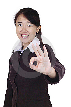 Businesswoman Giving OK Sign Stock Images - Image: 15753724