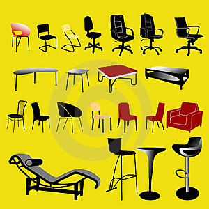Chair And Table Collection - Vector Stock Image - Image: 15754971