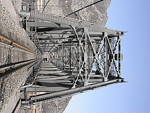 Steel Railway Bridge Into Tunnel In The Moutain Royalty Free Stock Image - Image: 15755186