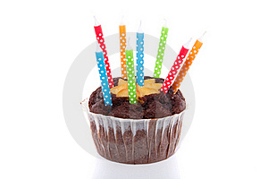 Birthday Chocolate Muffin Royalty Free Stock Photos - Image: 15756328