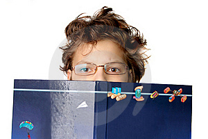 Cute Little Boy With A Big Book Stock Photography - Image: 15761622