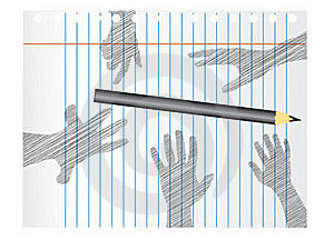 Hands In Sketch Royalty Free Stock Photography - Image: 15769287