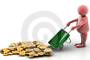 Gold Coin In Wheelbarrow Royalty Free Stock Images - Image: 15770699