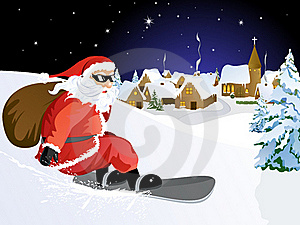 Santa Claus On Snowboard Stock Photography - Image: 15771202