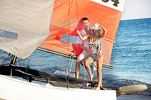 Couple On Sea Catamaran Stock Photo - Image: 15784480