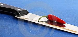 Chili On Knife Royalty Free Stock Images - Image: 15785609