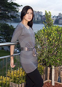 Young Asian Woman Standing Outdoors Stock Photos - Image: 15785883