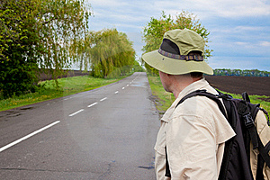 Tourist On A Country Road Royalty Free Stock Photography - Image: 15788097