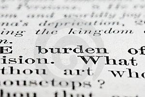 Burden Text Stock Photo - Image: 15789830