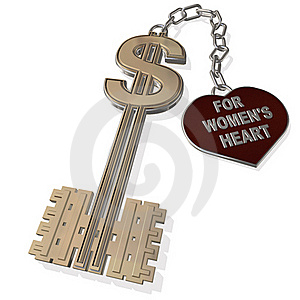 Key For Women's Heart  Isolated On A White Stock Images - Image: 15796374