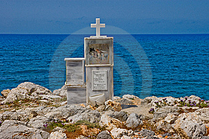 Cross At Cretan Shore Stock Photo - Image: 15798950
