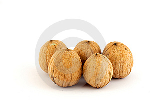 Five Walnuts Royalty Free Stock Images - Image: 1580209