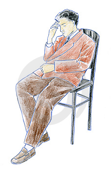 Stock Photos - Man sitting - coloured sketch
